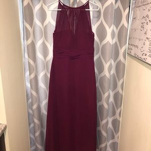 Sangria Burgundy Long Bridesmaid Gown